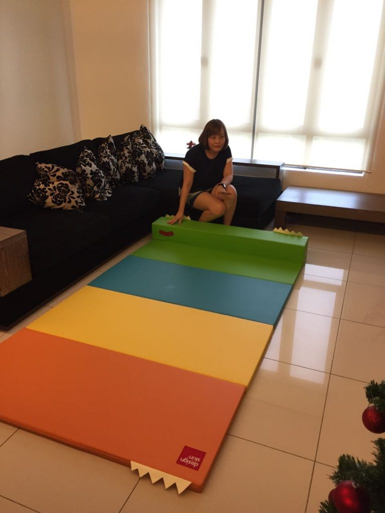 Transformed from a stool to a playmat with 4 striking bright colors