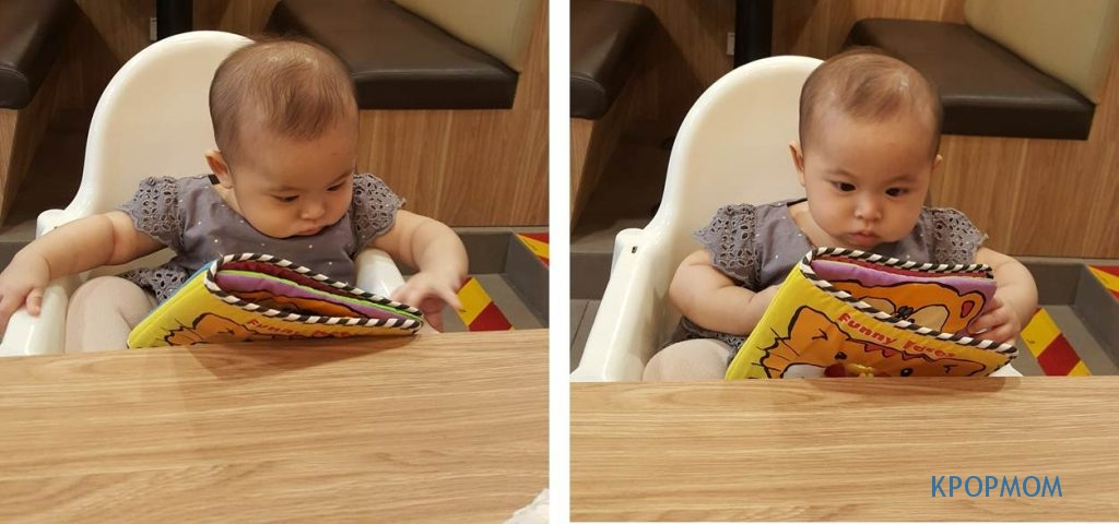 The distraction with the soft toy book was good for only 2 minutes before she throw the book or it slips from her hand.