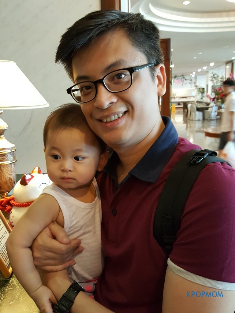 Arrived at Evergreen Laurel Hotel Penang. At the check-in counter. Hubs and Baby A