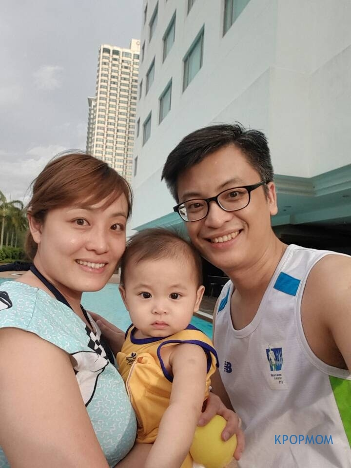 Family we-fie before we jump into the pool