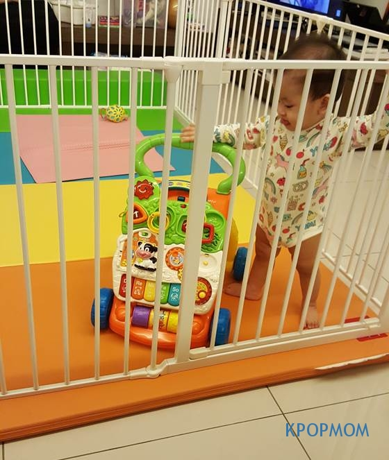 This is her cage/playpen. I am glad we got this from a friend. It is really helpful, especially when baby starts crawling or walking!