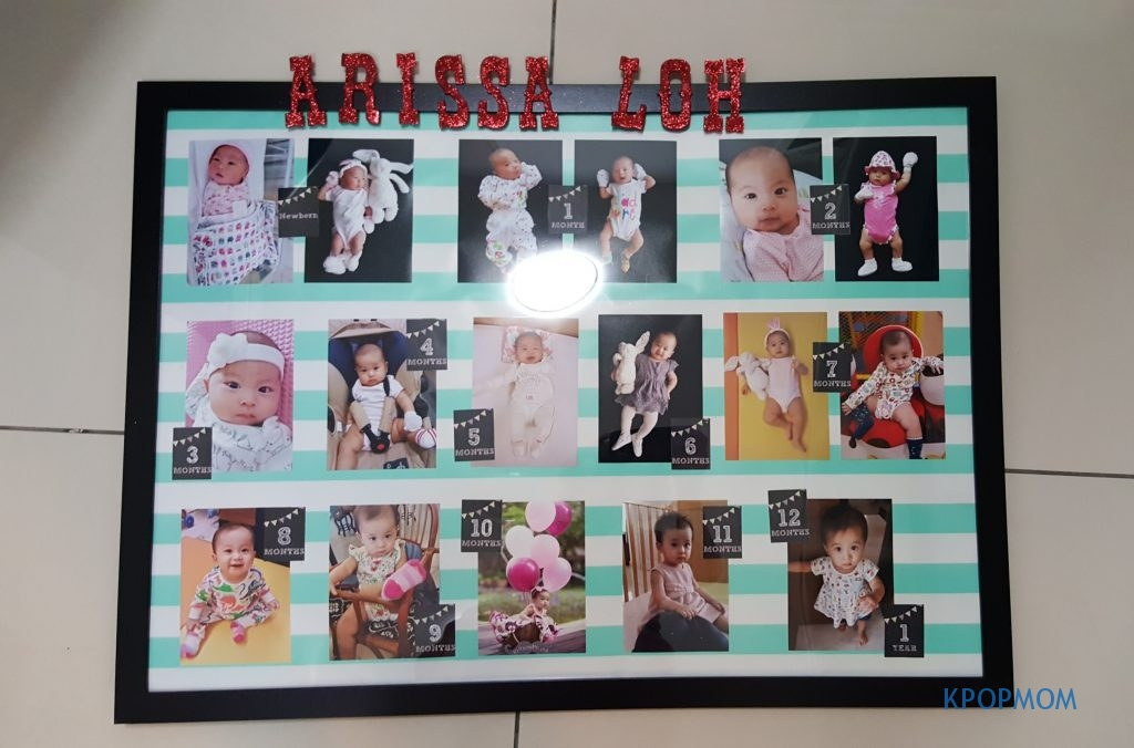 Ikea photoframe, typo wrapping paper, 17 3R photos and DIY milestone stickers from pinit!