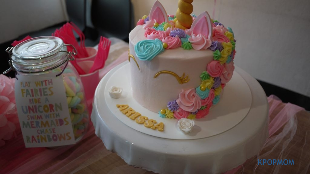 Unicorn birthday cake for Baby A. Quick tip: it is important to have a cake stand! It really makes a difference.